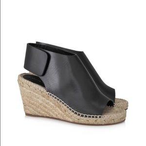 Celine Peep Toe Leather Espadrille Wedges